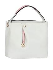 Plain Solid White Leatherette Handbag - Mod'acc
