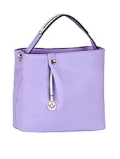 Plain Solid Purple Leatherette Handbag - Mod'acc