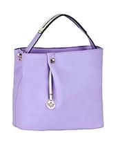 Plain Solid Purple Leatherette Handbag - Mod'acc