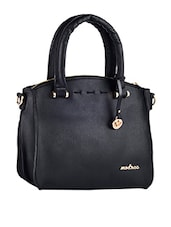 Plain Solid Black Zipper Closure Leatherette Handbag - Mod'acc