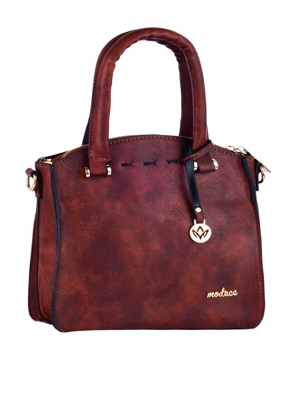 Solid Dual Compartment Leatherette Handbag - Mod'acc