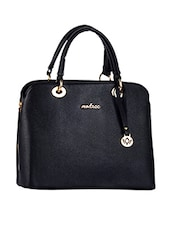 Leatherette Plain Solid Black Handbag - Mod'acc