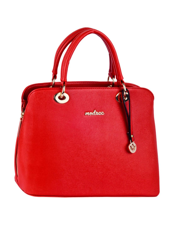 Leatherette Plain Solid Red Handbag - Mod'acc