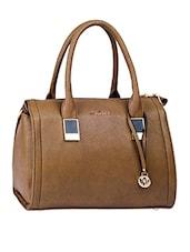 Metal Trim On Handle Leatherette Handbag - Mod'acc