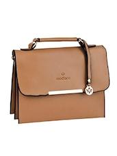 Triple Compartment Brown Leatherette Handbag - Mod'acc