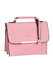 Triple Compartment Pink Leatherette Handbag - Mod'acc