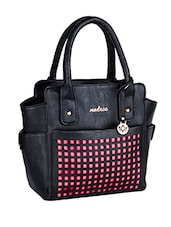 Cut Work Black Leatherette Handbag - Mod'acc