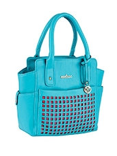 Cut Work Blue Leatherette Handbag - Mod'acc