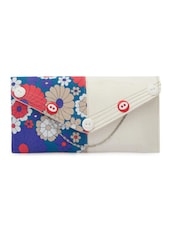 Button Embellished Floral Printed White Clutch - SkyWays