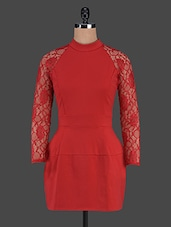 Red Lace Sleeve With Full Back Dress - Trendybella
