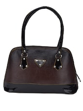 Dark Tan With Glossy Black Leatherette Handbag - Coash