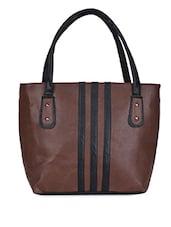 Black Stripe Brown Leatherette Handbag - Coash