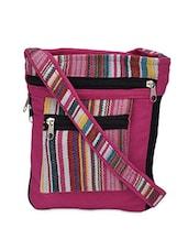 Woven Multicolor Striped Canvas Sling Bag - Coash