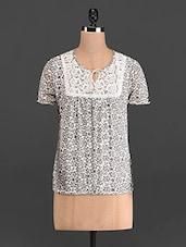 Cream And Grey Floral Print Top - French Creations