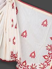 Beige Art Silk Cotton Saree - Prabha Creations