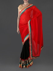 Red And Black Georgette Saree - Try N Get