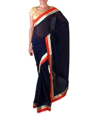 Navy Blue Georgette Saree With Contrasting Border - By
