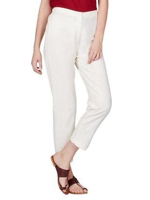 off white cotton peg  trousers - 11090006 - Standard Image - 4