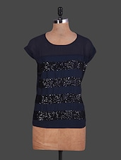 Round Neck Short Sleeves Sequined Blue Top - By