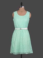 Filigree Pattern Round Neck Sleeveless Lace Dress - URBAN RELIGION