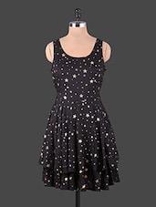 Round Neck Star Printed Multi Tier Dress - URBAN RELIGION