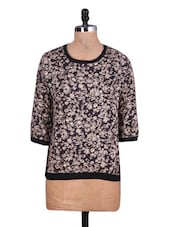 Round Neck Quarter Sleeves Floral Top - By