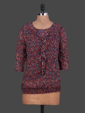 Round Neck Floral Print Georgette Top - URBAN RELIGION