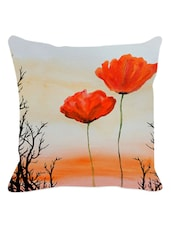 Sunset And Red Floral Cushion Cover - Leaf Designs