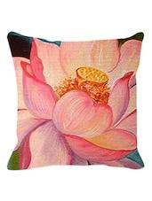 Peach Lotus Cushion Cover - Leaf Designs