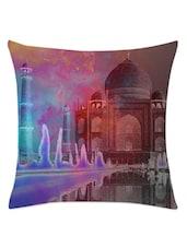 Multicolored Negative Effect Taj Mahal Cushion Cover - Leaf Designs