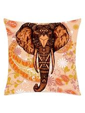 Elephant Head Printed Cushion Cover - Leaf Designs