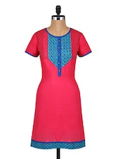 Round Neck Short Sleeves Printed Cotton Kurta - Aaboli