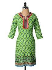 Ethnic Print Quarter Sleeves Cotton Kurta - Aaboli
