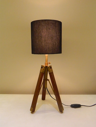 TRIPOD TABLE LAMP IN MANGO WOOD WITH FABRIC SHADE - 11106794 - Standard Image - 1