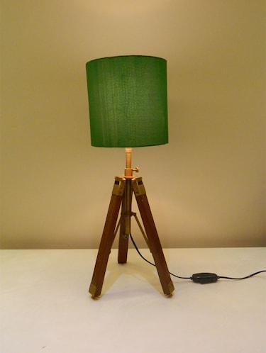TRIPOD TABLE LAMP IN MANGO WOOD WITH FABRIC SHADE - 11106795 - Standard Image - 1