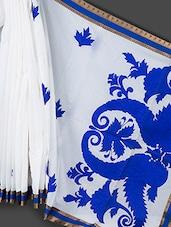 White & Blue Applique Work  Art Silk Saree - Prabha Creations