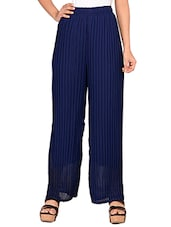 navy blue georgette palazzos -  online shopping for Palazzos