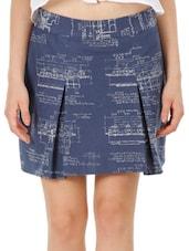 Box Pleat Printed Canvas Skirt - Fuziv