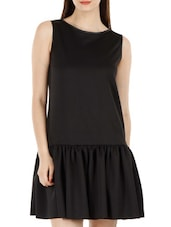 Solid Black Drop Waist Flared Dress - Fuziv