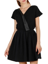 Overlap Neck Flared Mesh Dress - Fuziv