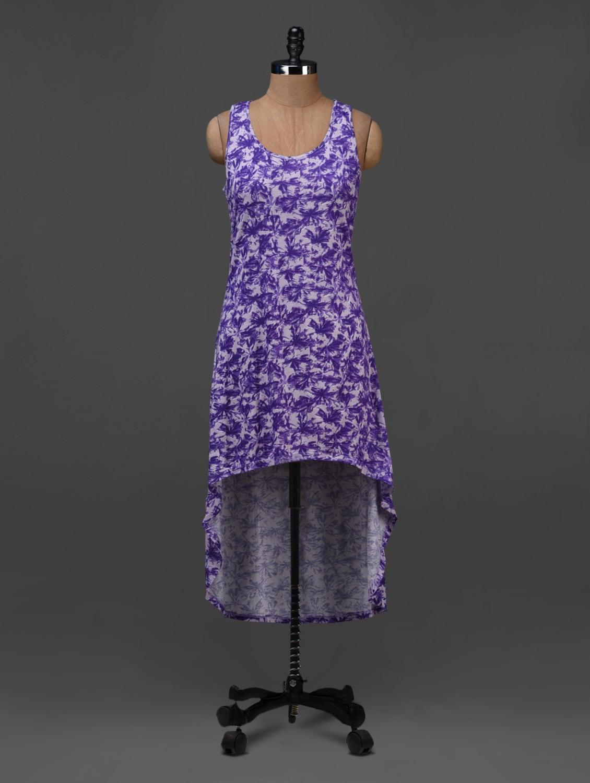 Purple Floral Printed Asymmetric Dress - NUN