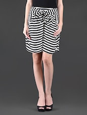 Monochrome Stripes Printed Polyester Skirts - NUN