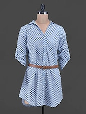 Printed Belted Long Button Down Cotton Tunic - Victor Brown