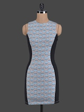 Blue Printed Sleeveless Bodycon Dress - Golden Couture