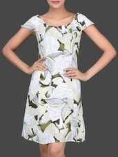 Floral Printed Boat Neck Dress - Golden Couture