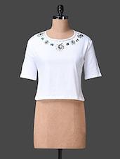 White Round Neck Embellished Top - Liebemode