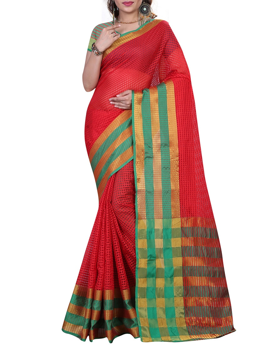 Buy Online Red Cotton Silk Saree From Ethnic Wear For Women By Laxmi Sarees For 1255 At 0 Off 2020 Limeroad Com