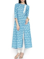 Blue Block Printed Cotton Kurta - By