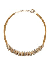 White, Gold Metal Choker  Necklace - By