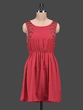 Red Embellished Sleeveless Polyester Dress - Oxolloxo